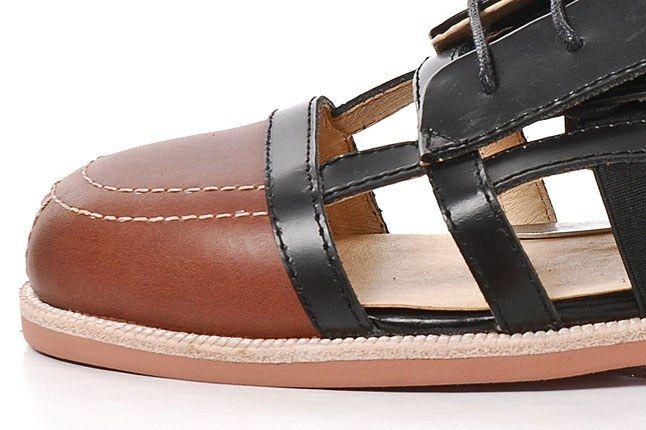 380G Black Cut Out Leather Sandal 4 1