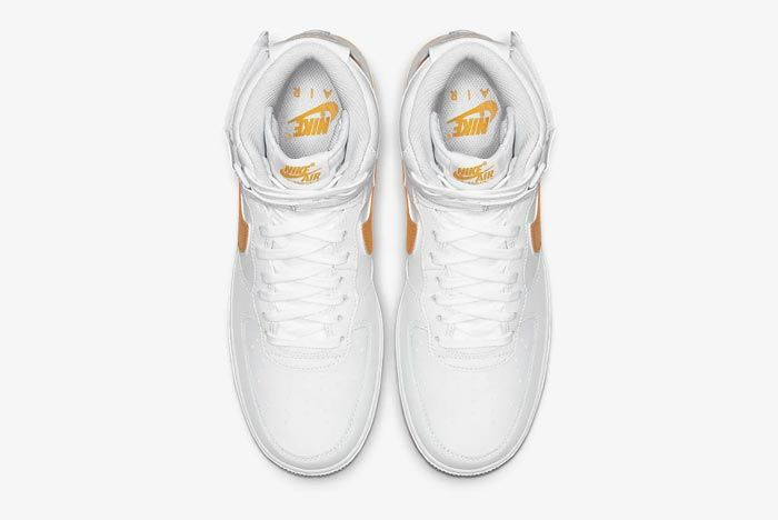 Nike Air Force 1 High White University Gold Top