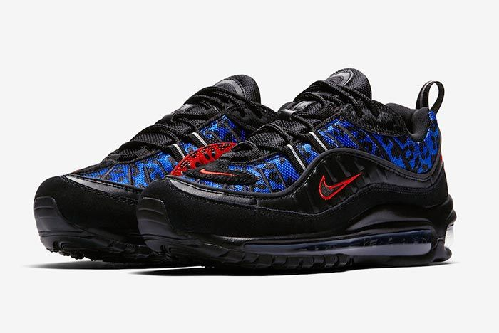 Nike Air Max 98 Black Leopard Three Quarter Shot