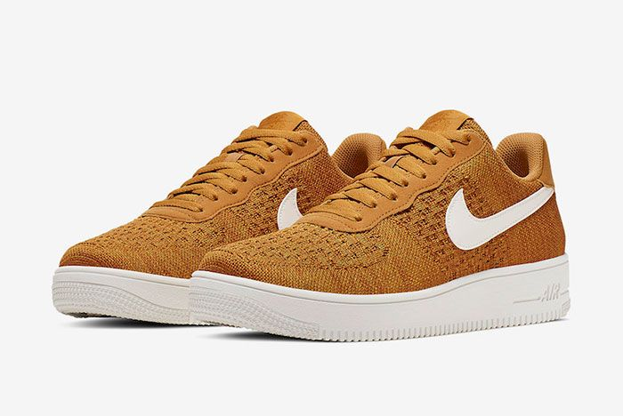Nike Air Force 1 Flyknit 2 0 Gold Suede Ci0051 700 Release Date 4 Pair