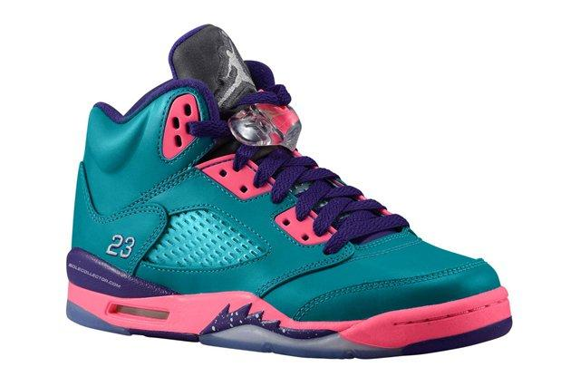 Air Jordan V 5 Gs Teal White Pink Purple