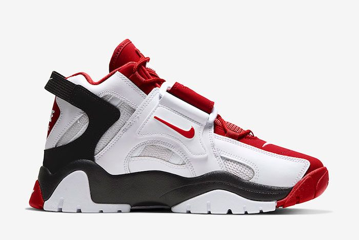 Nike Air Barrage Mid White Red At7847 102 Medial