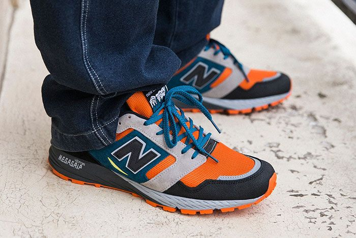 New Balance Made In Uk Season 2 Mtl575 Black Orange On Foot Lateral