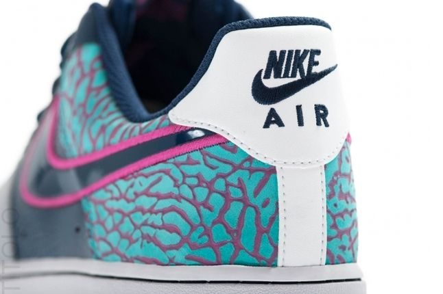 Nike Air Force 1 Low Midnight Navy Fusion Pink Elephant Heel 1
