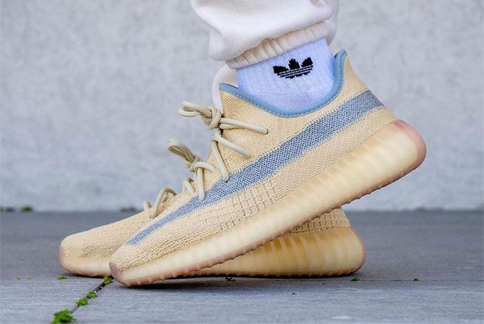Adidas Yeezy Boost 350 V2 Linen Fy5158 On Feet Left 4