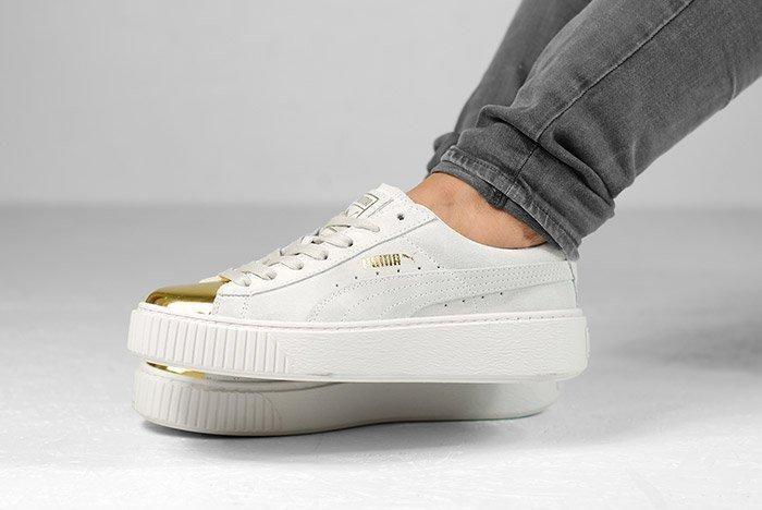 Puma Suede Platform Gold White Black Wmns On Feet 1