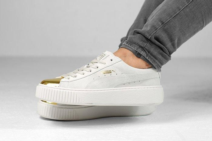 Puma Suede Platform Gold White Black Wmns On Feet 1