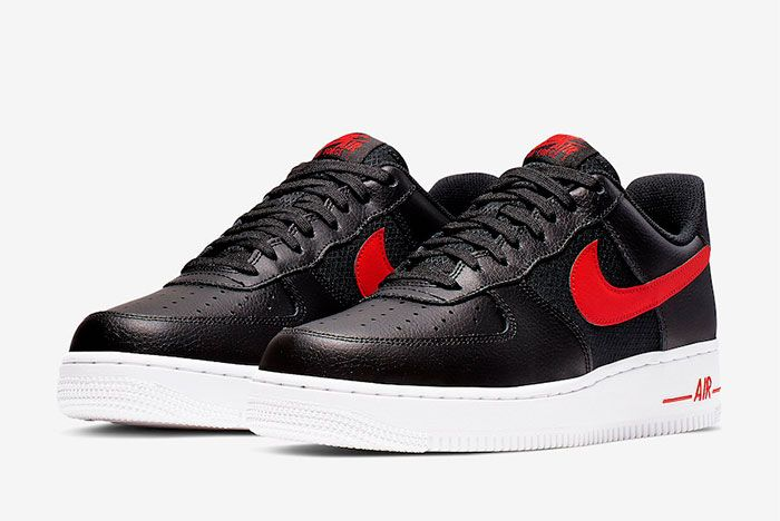 Nike Air Force 1 Low Black University Red Cd1516 001 Release Date 4
