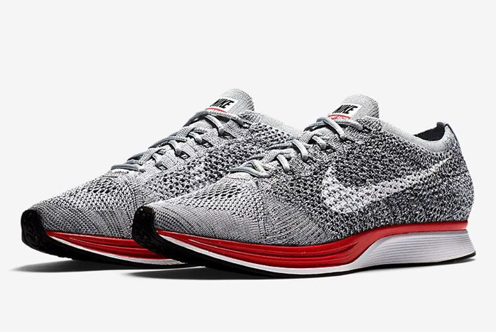 Nike Flyknit Racer Wolf Grey Red1