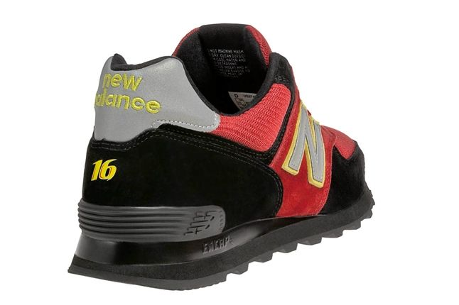 New Balance Race Inspired 574 Red And Black Heel 1