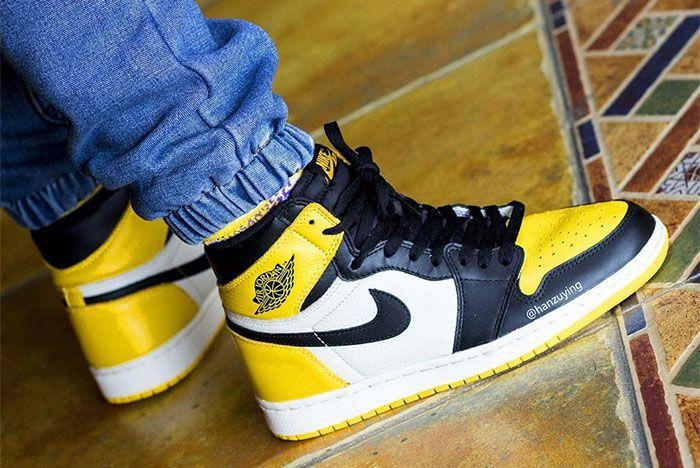 Air Jordan 1 Yellow Toe On Foot 2
