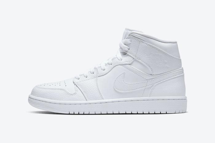 Air Jordan 1 Mid Triple White Lateral
