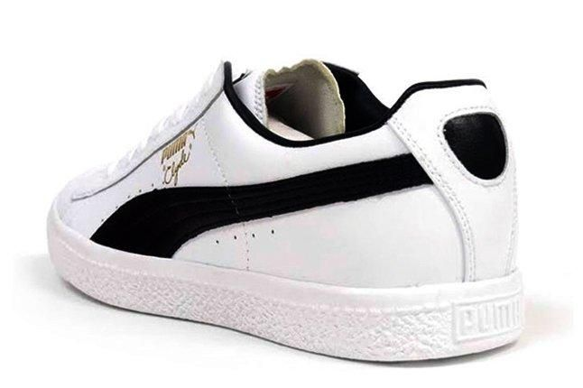 Puma Clyde Leather White Black Heel Detail 1
