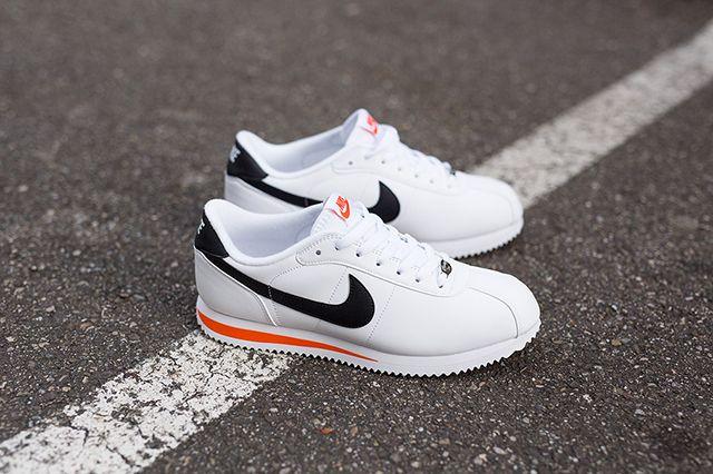 Nike Cortez Basic Leather White Wlack Orange Kopie 5