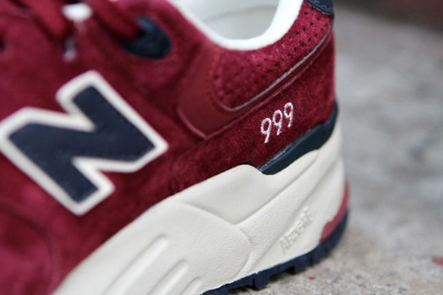 New Balance 999 Burgundy Heel 1