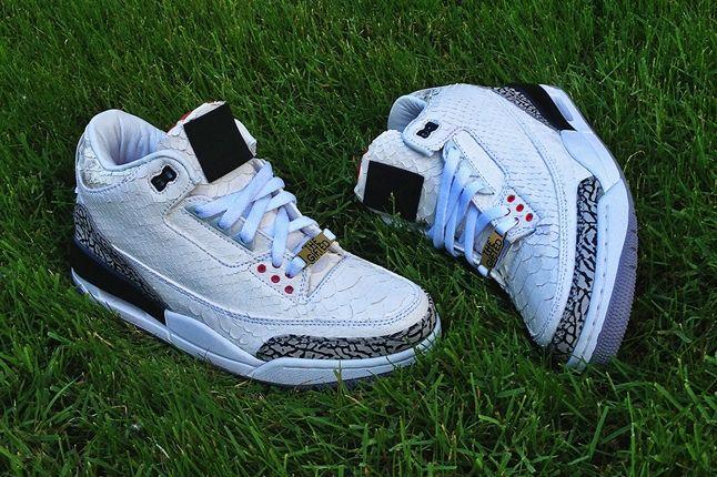 Jbf Customs White Snake Jordan 3 For Wale Pair 1