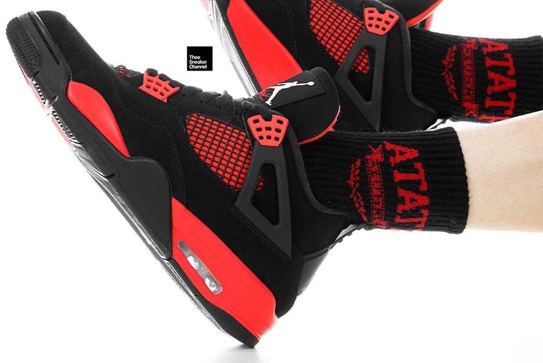 Air Jordan 4 'Red Thunder' on foot