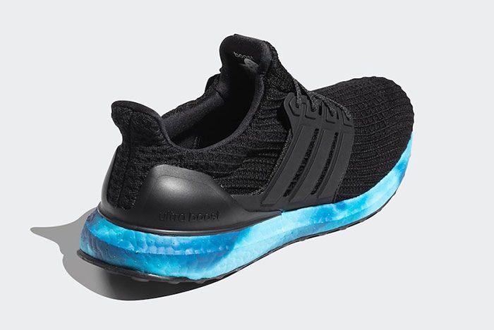 Adidas Ultra Boost Black Blue Fv7281 Rear Angle