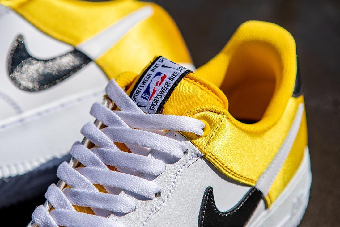 Nike Nba Air Force 1 Low Yellow Black White Tongue Detail