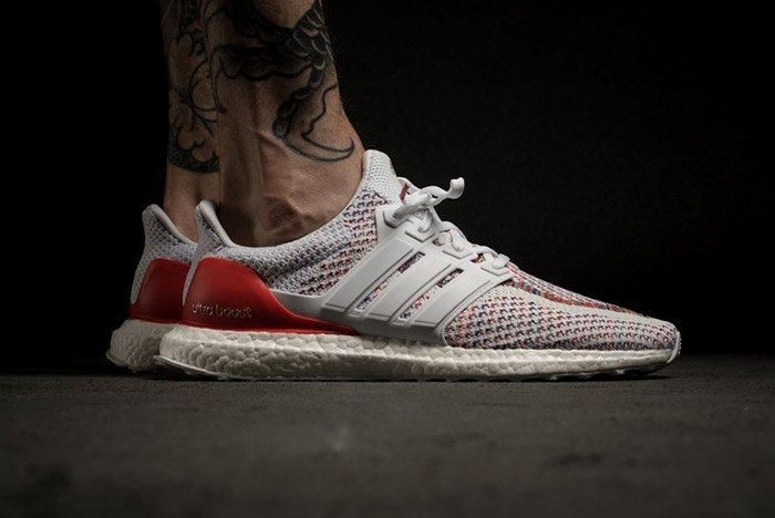Adidas Ultra Boost White Red Multicolour On Feet 4