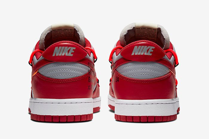 Off White Nike Dunk Low Red Grey Ct0856 600 Heel