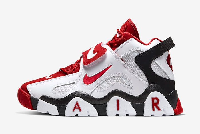 Nike Air Barrage Mid White Red At7847 102 Lateral
