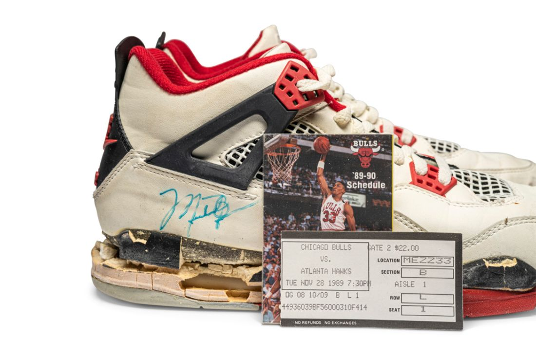 Air Jordan 4 'Fire Red' Game-Worn and Signed Player Exclusive Right