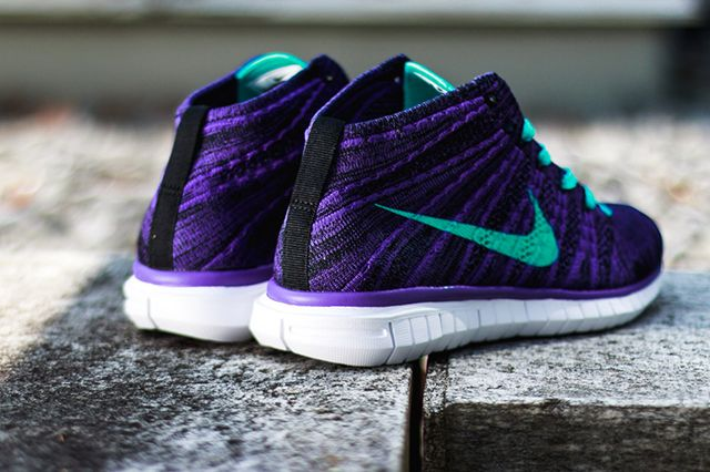 Nike Wmns Free Flyknit Chukka Court Purple Hyper Jade 5
