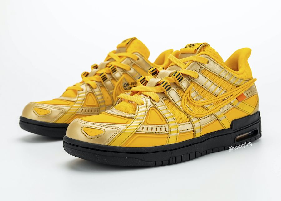 off-white nike air rubber dunk university gold toe