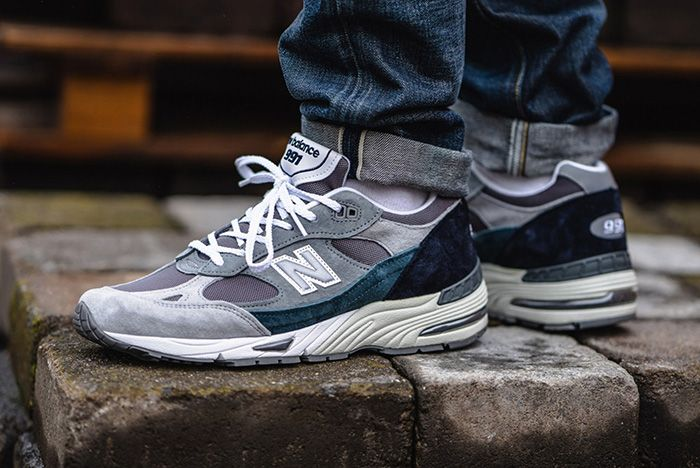 New Balance 991 Grey Blue Made In Uk On Foot Lateral