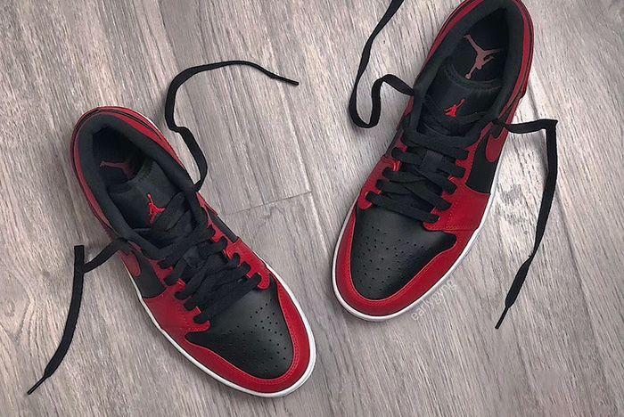 Air Jordan 1 Low Varsity Red Up Close Shot 5