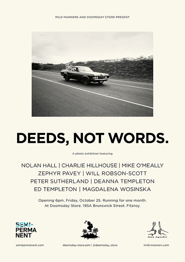 Deeds Not Words Exhibition Opening Doomsday Flyer