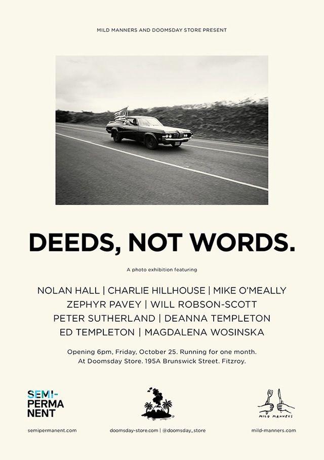 Deeds Not Words Exhibition Opening Doomsday Flyer