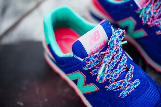 New Balance 574 Blue Candy Woven Laces 1