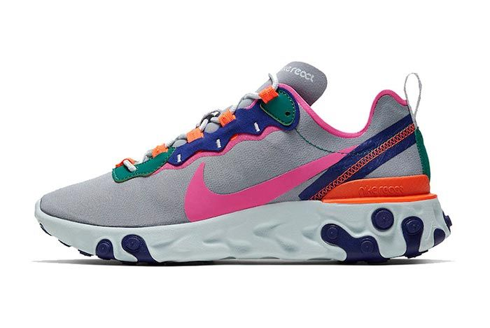 Nike React Element 55 Wolf Grey Lateral