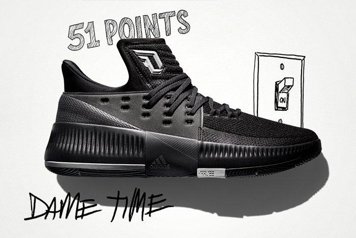 Adidas Dame 3 Lights Out Feature