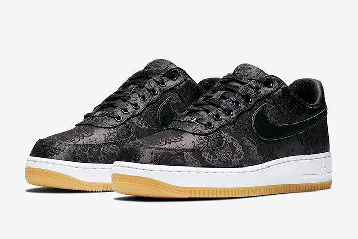 Clot Fragment Nike Air Force 1 Black Satin Three Quarter Shot