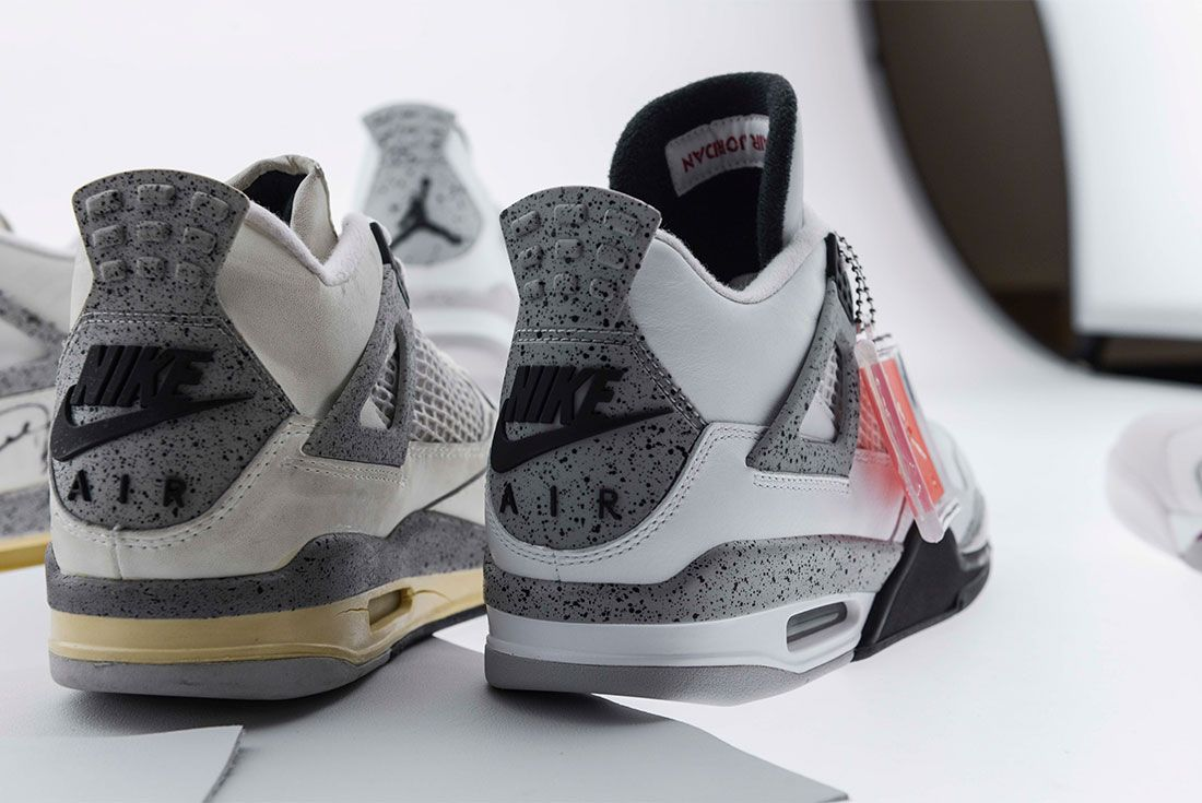 Air Jordan 4 White Cement Heel Shot