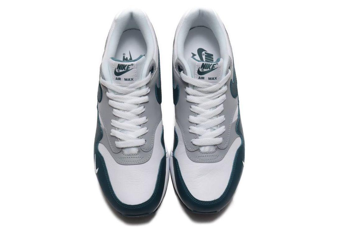 nike air max 1 dark teal green on white