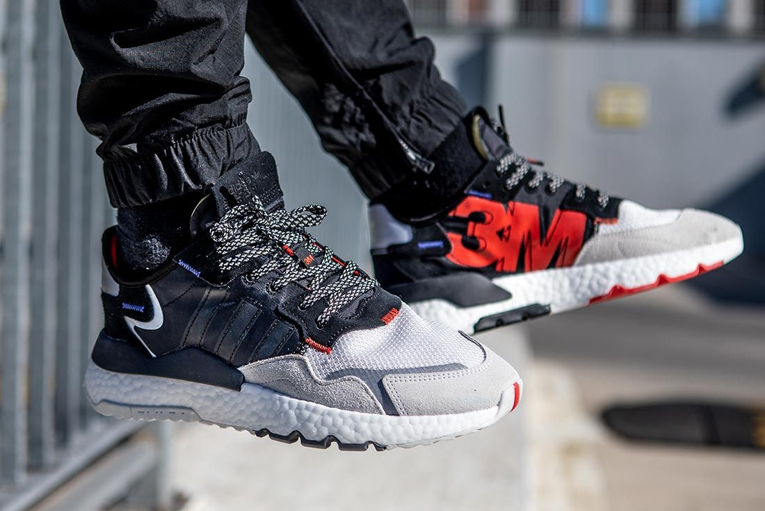 On Foot Adidas Nite Jogger Black Grey Lifted