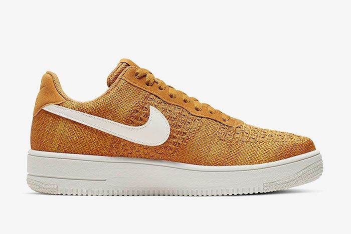 Nike Air Force 1 Flyknit 2 0 Gold Suede Ci0051 700 Release Date 2 Side