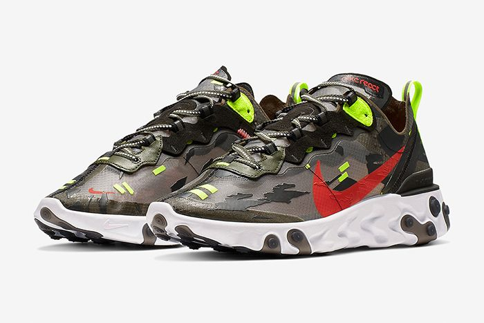 Nike React Element 87 Camo Cj4988 200 Release Date Pair
