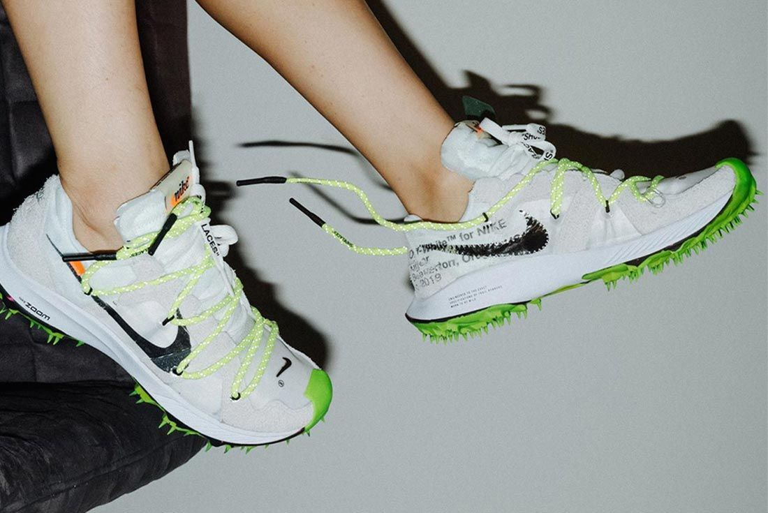 Off White Nike Zoom Terra Kiger 5 On Foot Lateral Side Shot