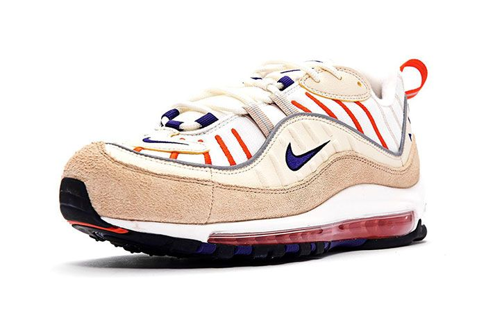 Nike Air Max 98 Sail Purple Cream Desert Front Angle Shot 4