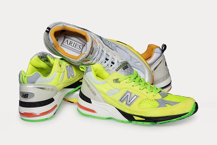 Aries New Balance 991 Neon Yellow Silver Orange Release Date Hero