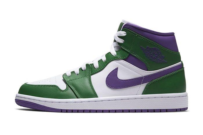 Air Jordan 1 Mid Hulk Green Purple Lateral Side Shot