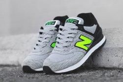 New Balance 574 Sweatshirt Grey Volt Thumb