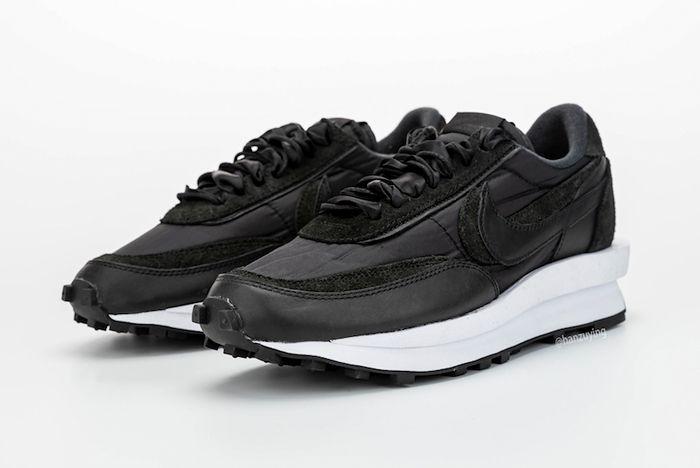 Sacai X Nike Ldwaffle Black Front Full