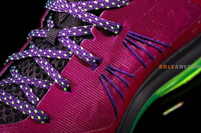 Nike Lebron X Low Pnkpurp Neongrn Tongue Sole Lace Detail 1