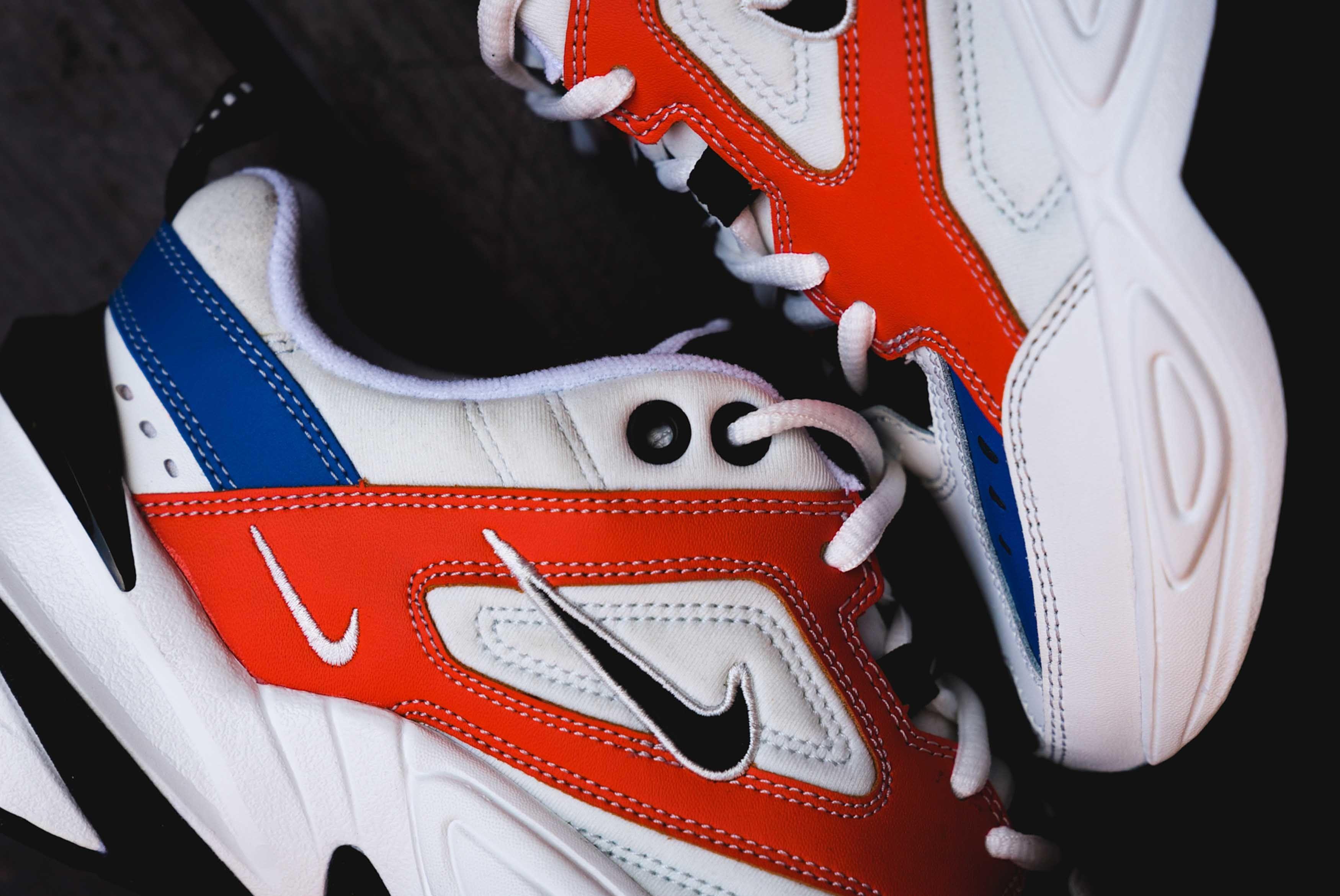 Nike M2K Tekno On Foot White Red Blue Black 2 Sneaker Freaker